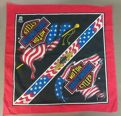 Harley Davidson Bandana Flag Wings Murica Patriotic Scarf Decor Red Vintage US