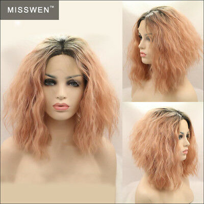 """11"""" Short Wavy Black With Smoke Pink Ombre Lace Front Wig Heat Resistant"""
