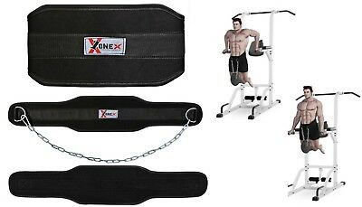 Leather Power Belt body weight Lifting Dip Belt Chain Fitness Gym Exercise Belt