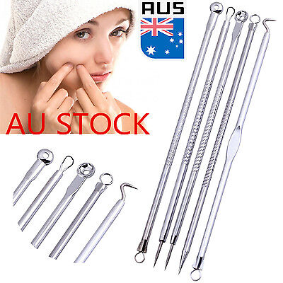 5PCS Acne Extractor Pimple Blemish Comedone Acne Extractor Remover Tool Needles