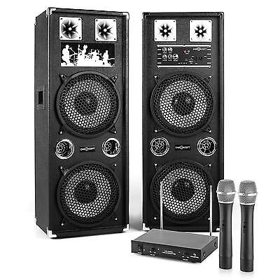 Powerful 80 W Rms Home Audio Karaoke Set 2 Active Speakers Wireless Mics New