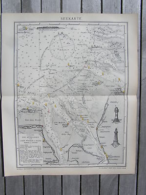Antique 1895 nautical CHART Long Island Sound CT NY