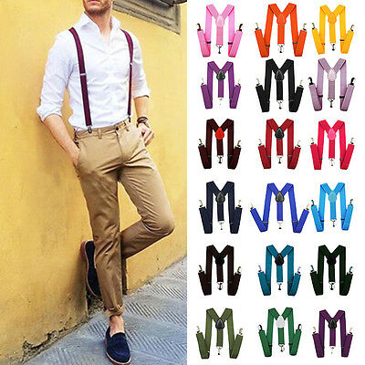 Stylish Women Men Suspenders Y-Shape Clip-on Elastic Adjustable Braces Unisex