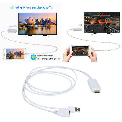 2M USB To AV HDMI/HDTV TV Cable Adapter 1080P For Apple iPhone 7 Plus 6 6S iPad