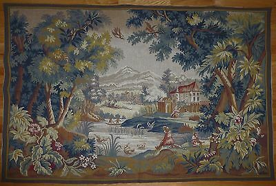 """Large Antique / vintage French Wall Hanging Tapestry 70 1/2"""" x 49"""" Point Halluin"""