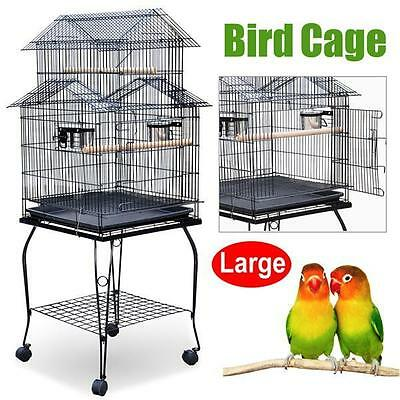 Large Parrot Aviary Bird Cage Canary Portable Wheels With  Perches Stand New