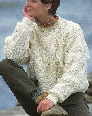 "R99 Womans Patchwork Aran Long & Short Jumpers Upto 45"" Vintage Knitting Pattern"