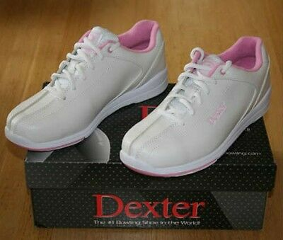 Ladies Dexter Raquel IV tenpin bowling shoes, White and Pink