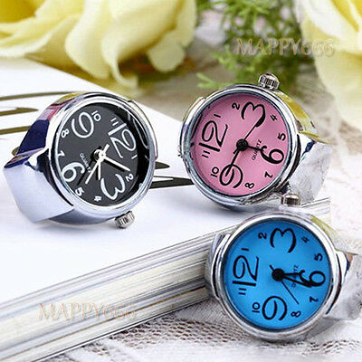 Women Men Dial Quartz Analog Finger Watch Creative Steel Cool Ring Elastic Watch