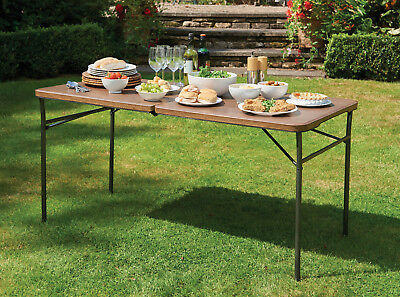 Plastic Folding Trestle Table 5ft Wood Effect Catering Party BBQ Decorating