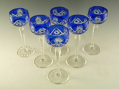 BOHEMIAN Crystal - Set of 6 Blue Liqueur Glasses - 5""