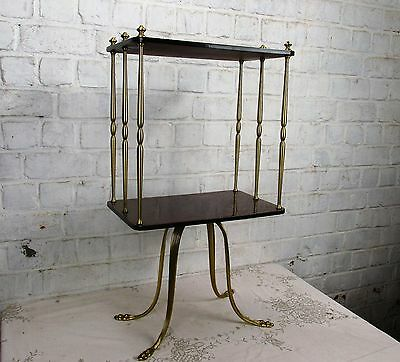Vintage Brass & Rosewood Veneer Two Tier Side Table Hollywood regency Lovely