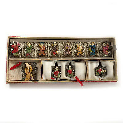 Chinese Immortals Silver Filigree Wedding Jewelry SET 5 Pieces in Original Box