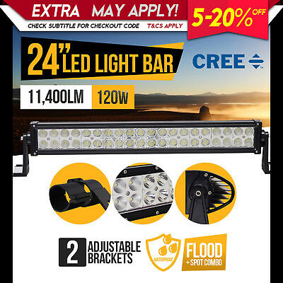New 24inch 120W CREE LED Light Bar 12V Flood Spot Combo Offroad 4WD 4X4 Camping