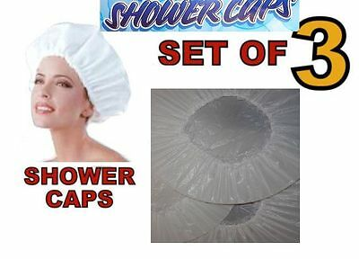 Set of 3 White Elasticated Waterproof Shower Caps Cap With Lace Frill