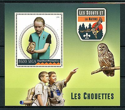 Madagascar 2016 MNH Scouts & Nature Owls 1v S/S Scouting Birds of Prey Stamps