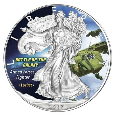 "USA 1 Unze Silber Eagle Farbe 2017 ""Armed Fighter - Battle of the Galaxy"""