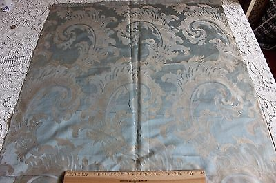 "Antique c1890 French Blue Scrolls Silk Home Dec Fabric Sample~1yd15""LX25""W"