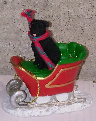 Victorian Trading Co Dog in Sleigh Christmas Ornament Black Bouvier des Flandres