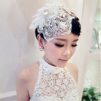 Bride Crystal Fringes Lace Fascinator Headpiece Wedding Party Lady Hair Jewelry