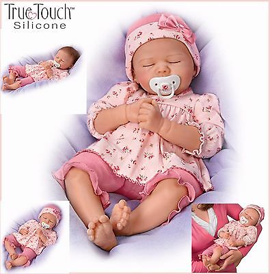 Penelope Silicone Weighted Baby Girl Doll by Ashton-Drake Rooted Hair