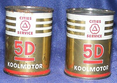 VTG CITIES SERVICE MOTOR OIL 2 CAN BANK Lot 1950'S Gas Station Give-Aways 5D