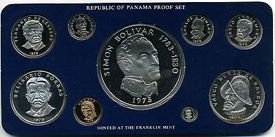 Panama 1975 9 Piece Proof Set Including 20 Balboa In Original Packaging