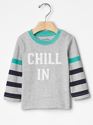 GAP Baby Toddler Boys Size 12-18 Months Gray Long-Sleeved Statement T-Shirt Top