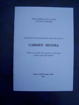 Carmen Silvera - Memorial Service program - Peter Bowles autograph