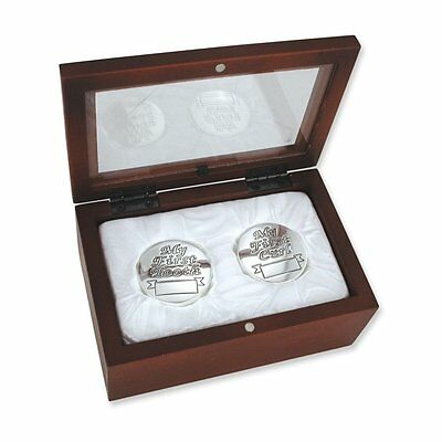 Babys Silver First Curl & First Tooth in Rosewood Keepsake Box