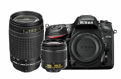 Nikon D7200 Digital SLR Body + AF-P 18-55 VR + 70-300mmGLens Bundle Kit *New*
