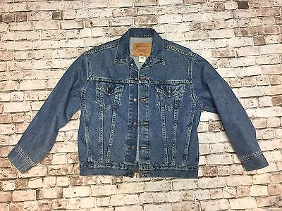 Vintage Levi's Denim Blue Jean Trucker Jacket button Boys Large Women M