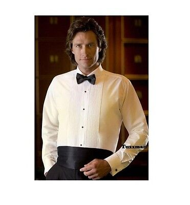 Men's Ivory pleated Tux laydown spread collar Tuxedo shirt