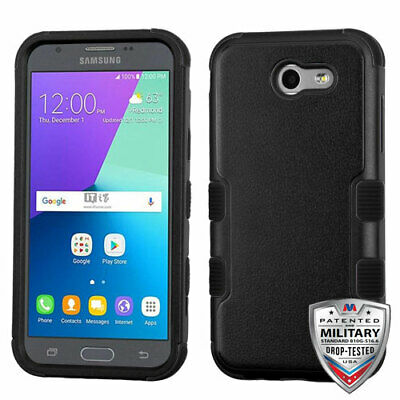 Samsung GALAXY J3 Emerge Hybrid Rubber Silicone Protective Case Cover Jet Black