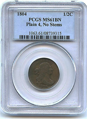 1804 Plain 4 No Stems Draped Bust Half Cent PCGS MS 61 BN Population 7