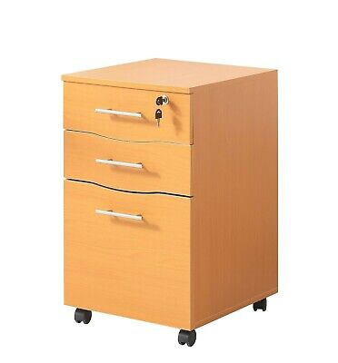 Office Filing cabinet Pedestal Under Desk Storage Unit 3 drawers castors Beech