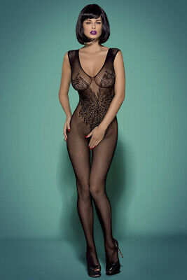 Offener Catsuit schwarz Open Body Stocking transparent Stretch Blumenmuster