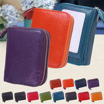 Women Leather Concertina Accordion Coin Wallet Security Credit Card Holder Purse