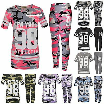 Girls Army Tracksuit Camo Camouflage New York 98 Kids Top & Leggings Loungewear