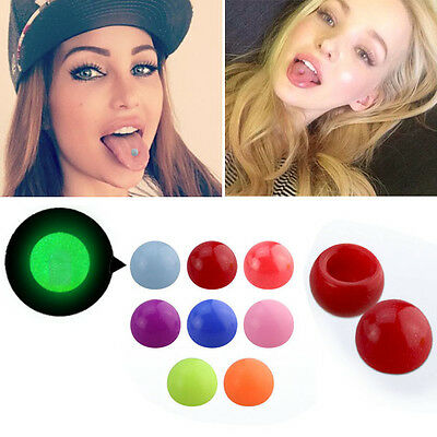 1-4PC Fake Glow In The Dark Acrylic Color Set Illusion Tongue Stud Suction Hold