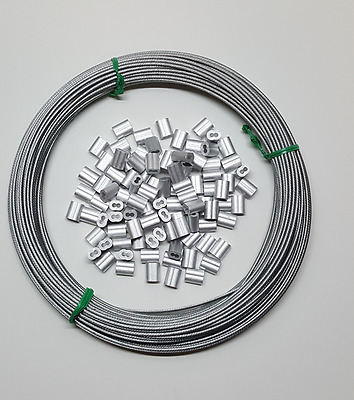 """SNARE CABLE Galvanized 3/32"""",1x19, 100 ft Cable with Aluminum Sleeves"""