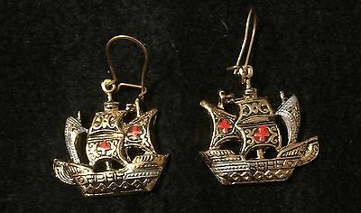 Vintage Toledo Spain Gallon Ship Red Enamel Earrings 24K GP Damascene Style
