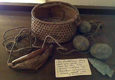RARE Colonial Gay Head Aquinnah Indian Sling, Basket, & Ammo, c 1700, Provenance