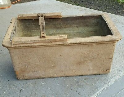 Antique Oak Wall Hung Toilet Tank with Copper Liner For Restoration