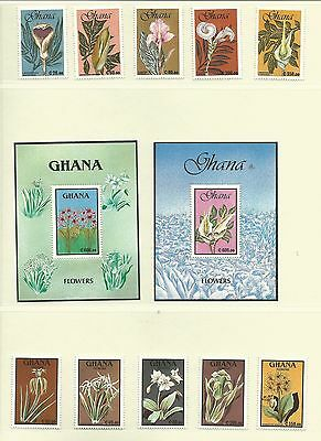 Ghana 1991 Flowers 1st & 2nd SG1528-38 + 2x MS, Cat.£27+, mnh.