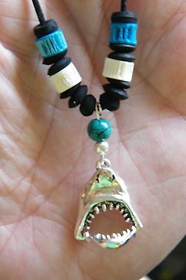 """GREAT WHITE SHARK Necklace Silver JAWS Hinged MOUTH Opens UP! 16""""-28"""" Cord NEW!"""