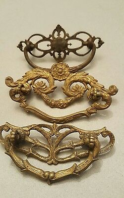 Lot Of Three Antique Vintage Metal Drawer Pulls Victorian Ornate