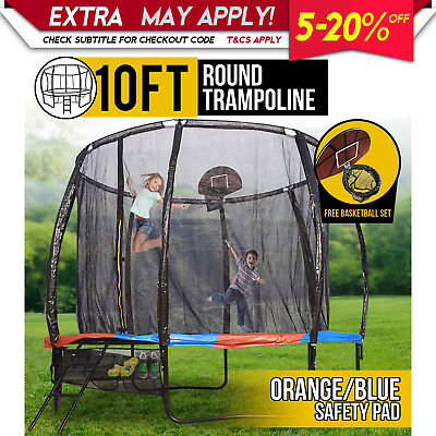 10FT Round Spring Trampoline with Orange/Blue Spring Pad and Basketball Kit