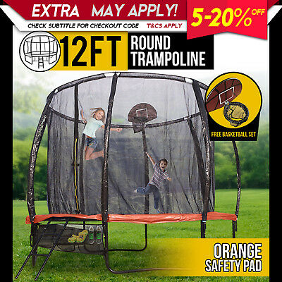 12FT Round Spring Trampoline with Orange Spring Pad and Basketball Kit
