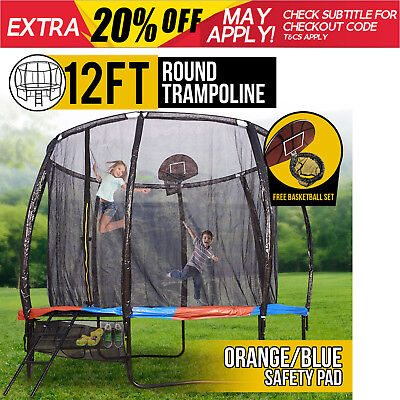 12FT Round Spring Trampoline with Orange/Blue Spring Pad and Basketball Kit